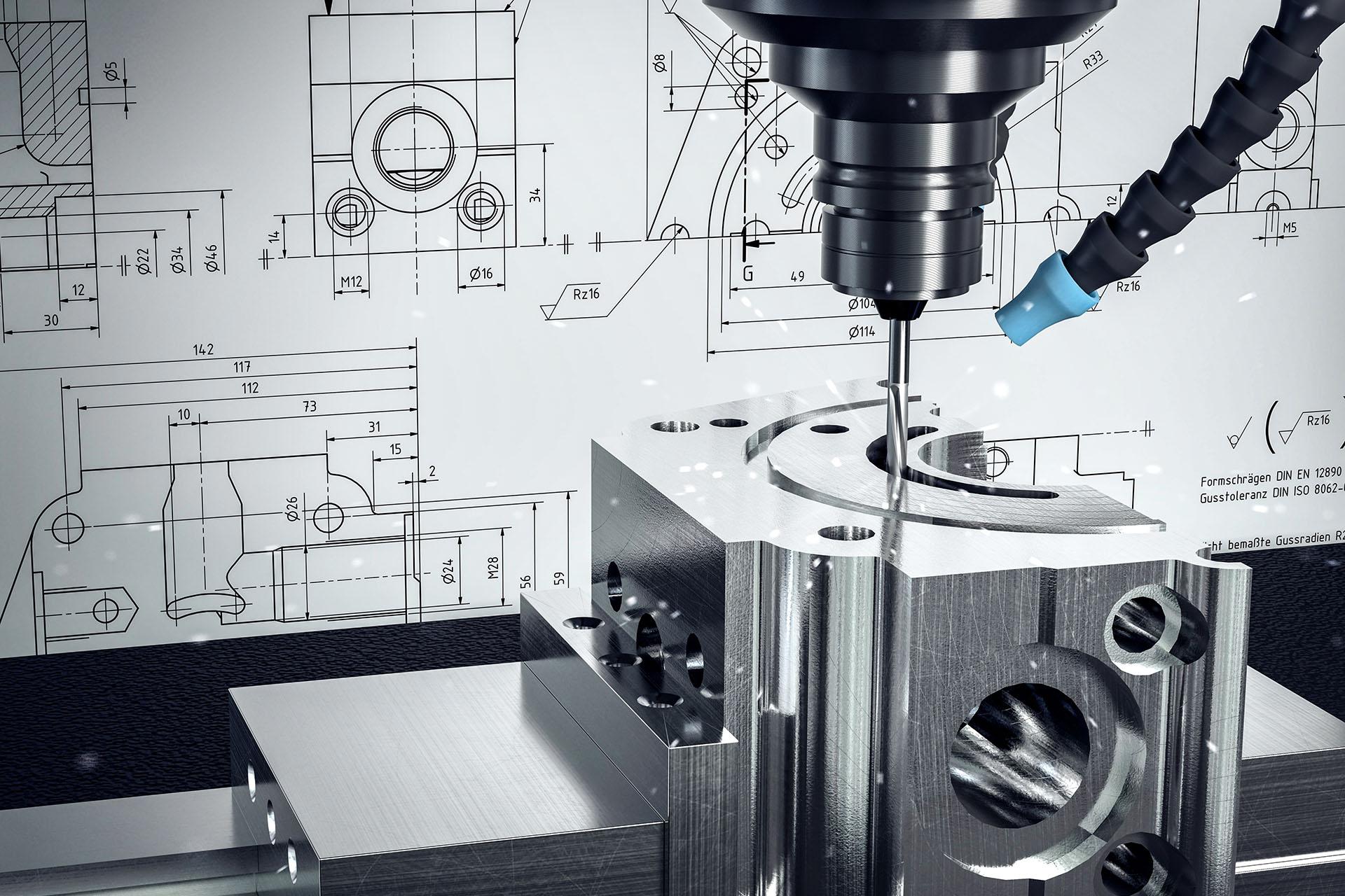 3D-Illustration_CNC-Fräse_Metalverarbeitung